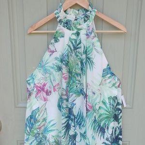 High Neck Floral Halter Dress